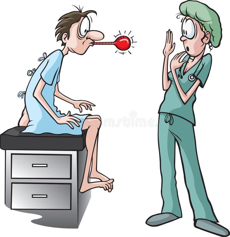 Infirmière et thermomètre illustration de vecteur
