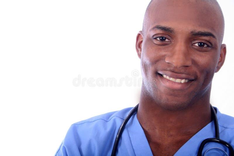 Infirmière mâle africaine d'Amrican photographie stock libre de droits