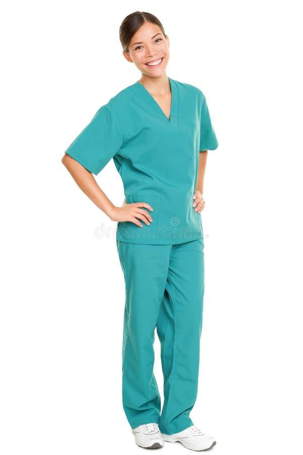 Infirmière médicale d'isolement dans la pleine longueur du corps photo stock