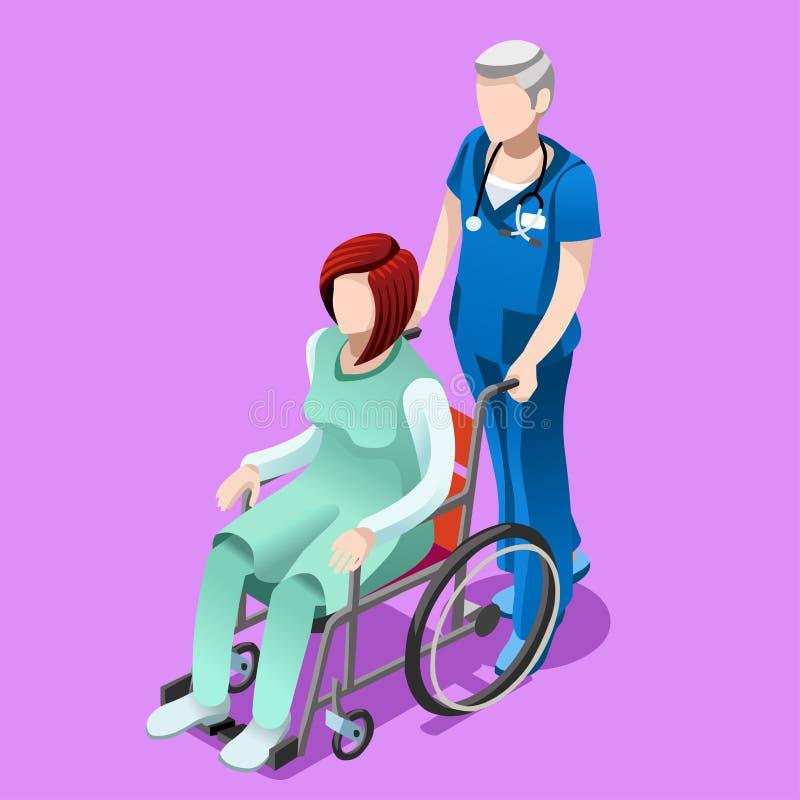 Infirmière masculine supérieure de vecteur et personnes isométriques médicales patientes illustration libre de droits