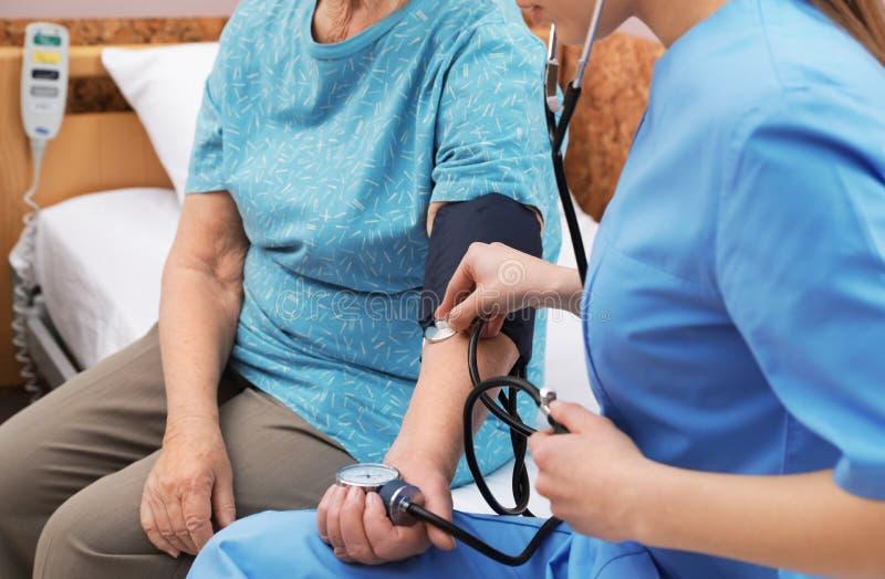 Infirmière mesurant la tension artérielle de la femme supérieure dans la salle d'hôpital Assistance médicale image libre de droits