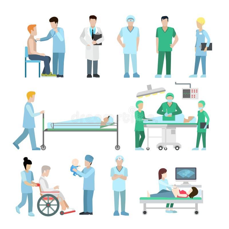 Infirmière plate linéaire de thérapeute de chirurgien de soins de santé illustration libre de droits