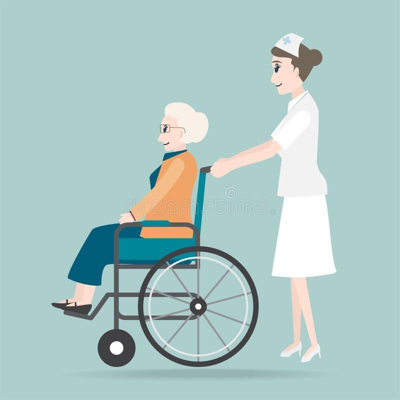 Infirmière poussant le fauteuil roulant de l'illustration de femme agée illustration stock