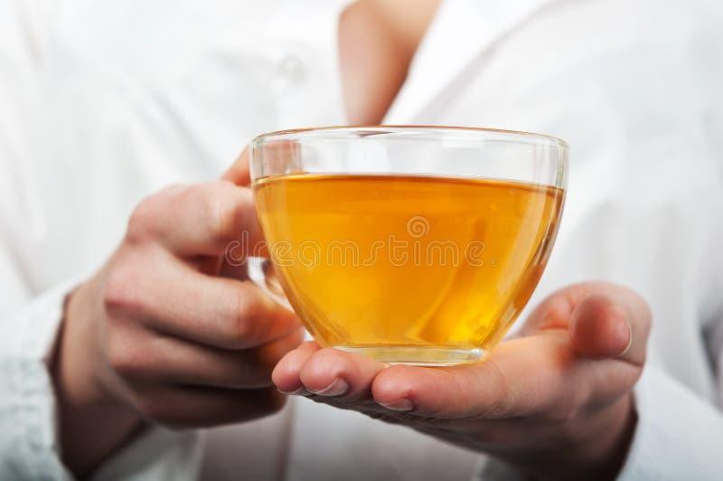 Infirmière retenant une cuvette de thé photographie stock