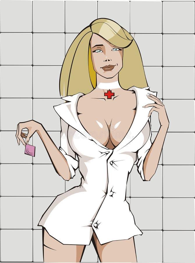 Infirmière sexy avec le condom image stock