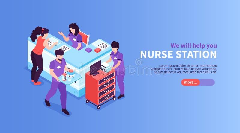 Infirmière Station Hospital Banner illustration de vecteur
