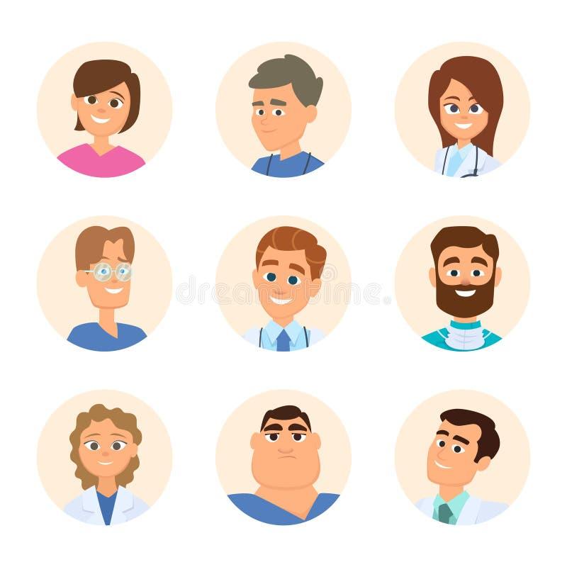 Infirmières et médecins médicaux Avatars dans le style de bande dessinée illustration libre de droits