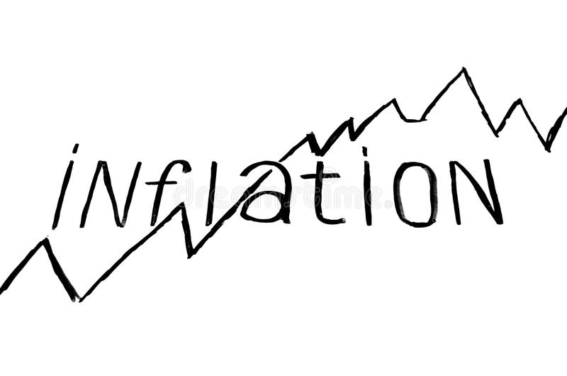 Inflação da inscrição com gráfico no fundo branco foto de stock