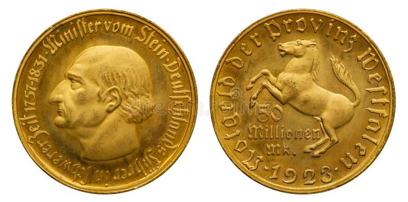 Inflação do dinheiro da emergência de Westphalia da moeda de Alemanha 50 milhão marcas fotografia de stock royalty free