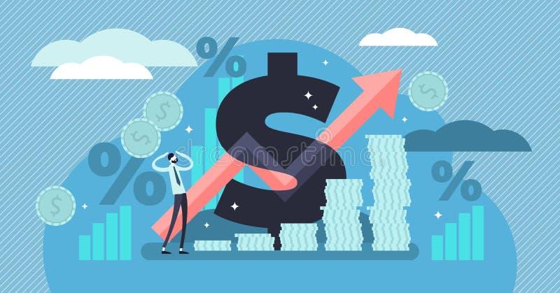 Inflacja wektoru ilustracja Malutki persons pojęcie z podstawowym gospodarka terminem ilustracja wektor