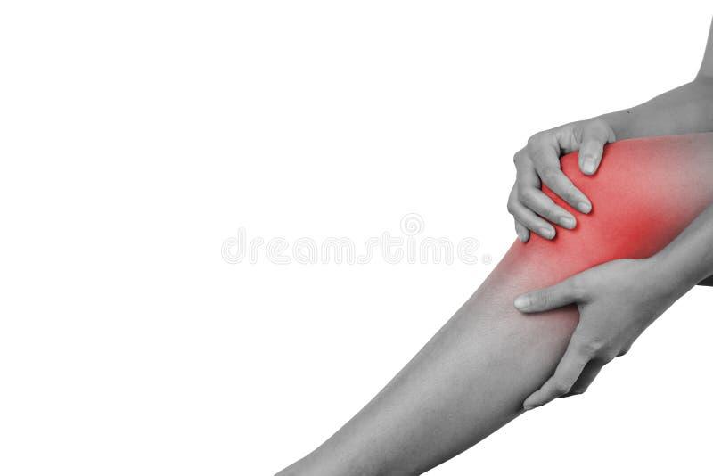 Inflamación coloreada en el concepto herido sufridor rojo de la pierna, de la atención sanitaria y del problema - aislado en el f foto de archivo