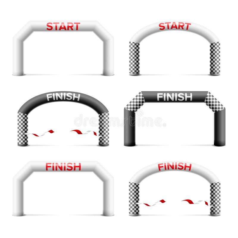 Inflatable Arch Set Isolated Vector. Place For Sponsors Advertising. Archway, Suitable For Sport Event. Marathon Racing. Inflatable Arch Isolated Vector. Archway royalty free illustration