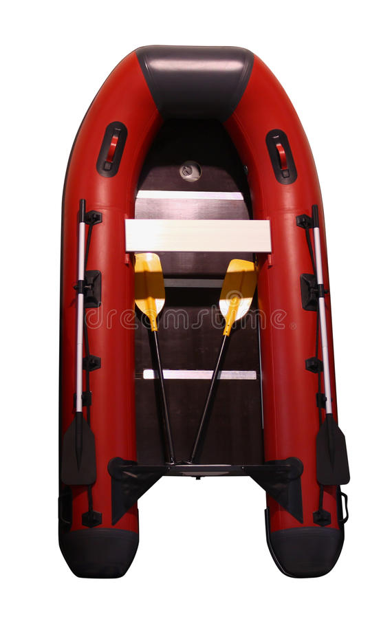Inflatable boat. Top view, isolated on white royalty free stock photo