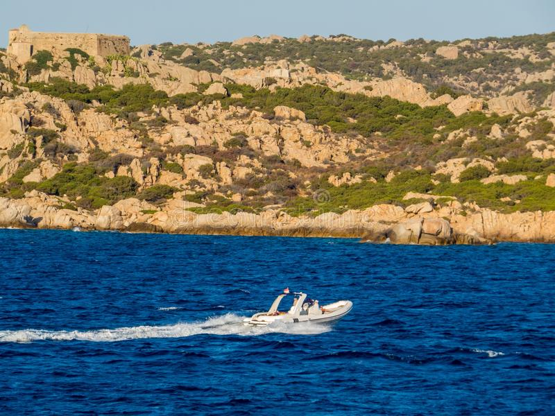 Inflatable boat. In the Island of Caprera in the La Maddalena archipelago in the northern part of Sardinia, Italy stock image