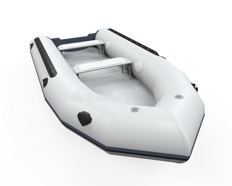 Inflatable Boat. Isolated on white background. 3D render royalty free stock photography