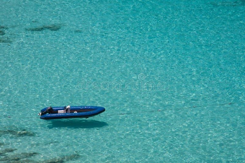 Inflatable boat. Moored at the blue sea at Similan island,Thailand royalty free stock photography