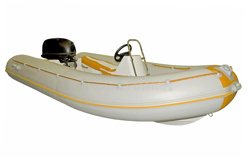 Inflatable boat with motor. On a white background royalty free stock image
