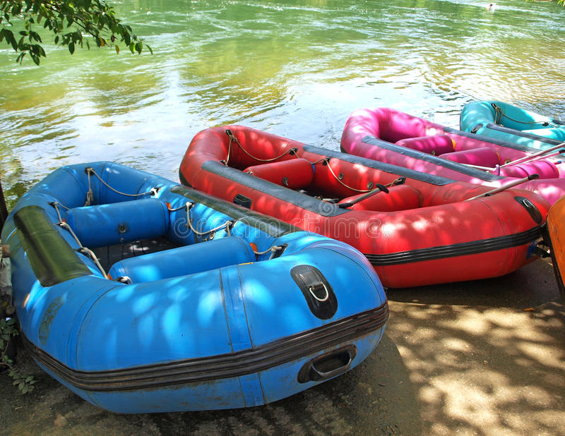 Inflatable boat, Rubber boat. For Rafting royalty free stock photography