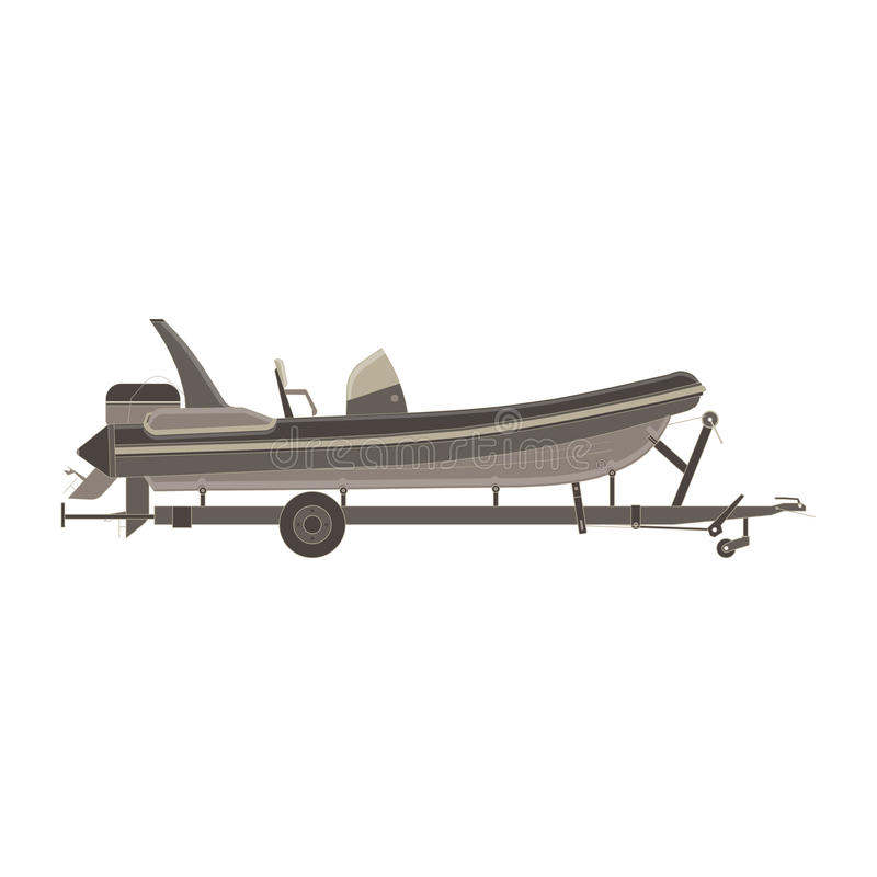 Inflatable boat trailer side view monochrome flat in gray color theme. Illustration object royalty free illustration