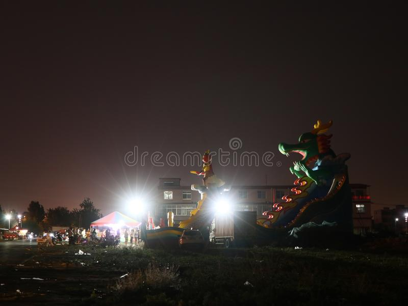 Inflatable castle stock photo