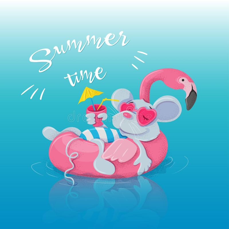 Inflatable circle in the form of a flamingo and a mouse resting on it with a cocktail. Postcard for summer vector illustration