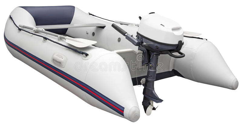 Inflatable dinghy. With Outboard motor, isolated on white background with Clipping Path stock photo