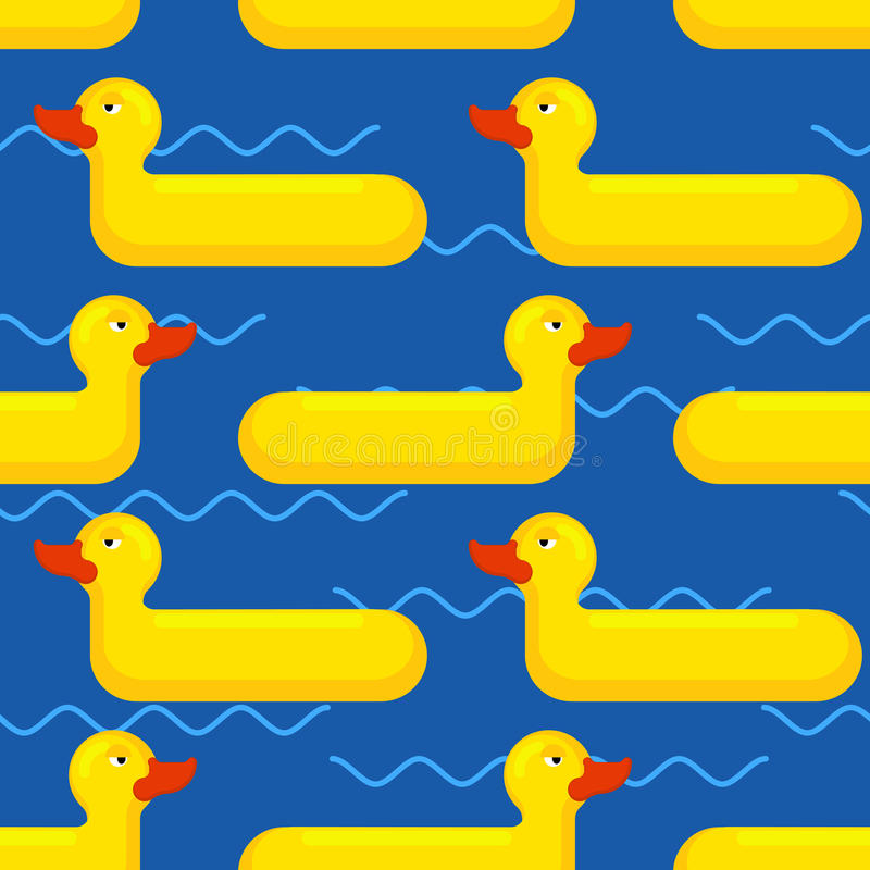 Inflatable duck Seamless pattern. toy for swimming background.  stock illustration