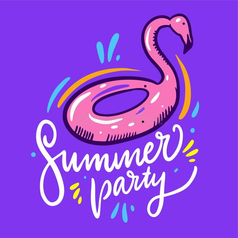 Inflatable flamingo illustration and Summer party hand drawn vector lettering vector illustration