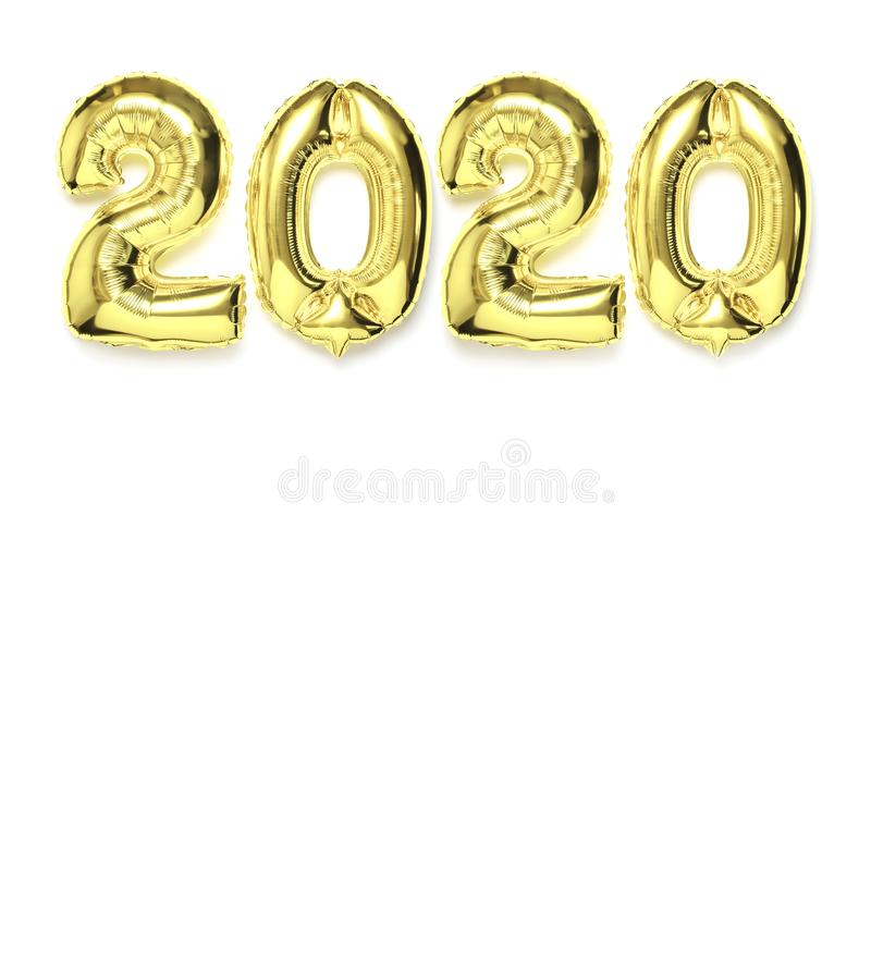 2020 inflatable gold numbers with shadow on white isolated background. New year winter decoration, holiday symbol, party item, stock photos