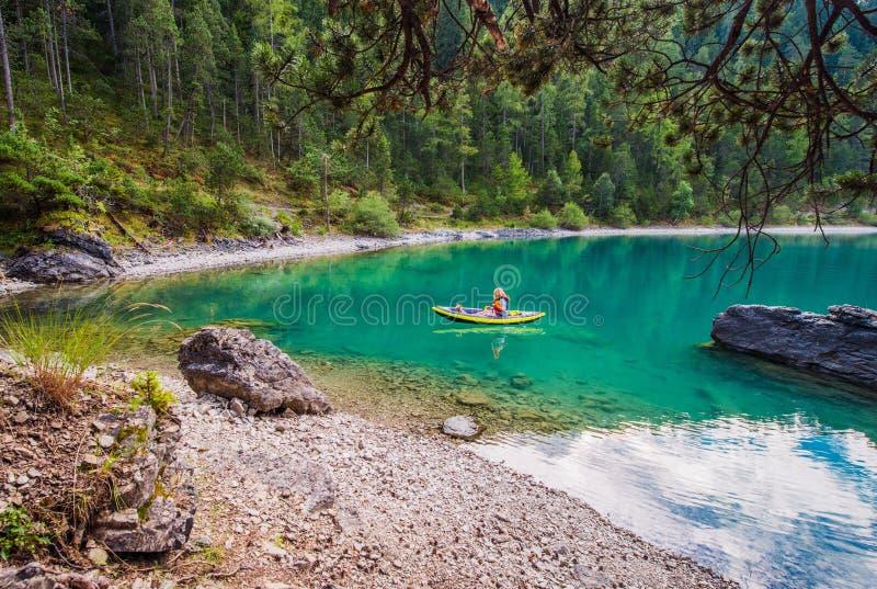 Inflatable Kayak Tour with Dog royalty free stock photos