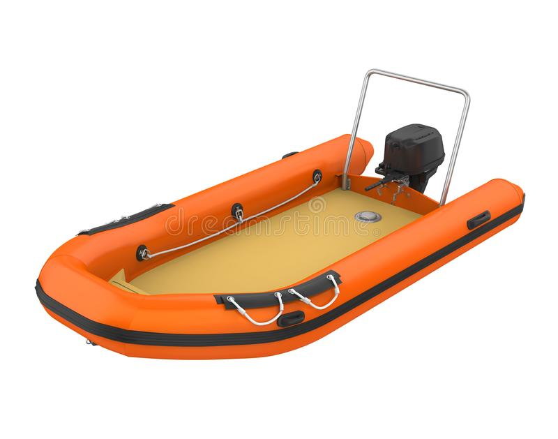 Inflatable Motor Boat Isolated. On white background. 3D render royalty free illustration