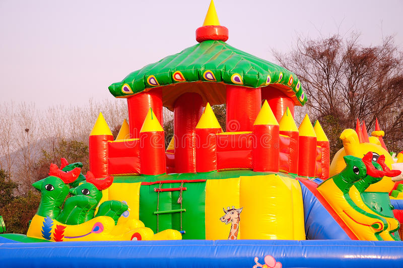 Inflatable playground royalty free stock photography