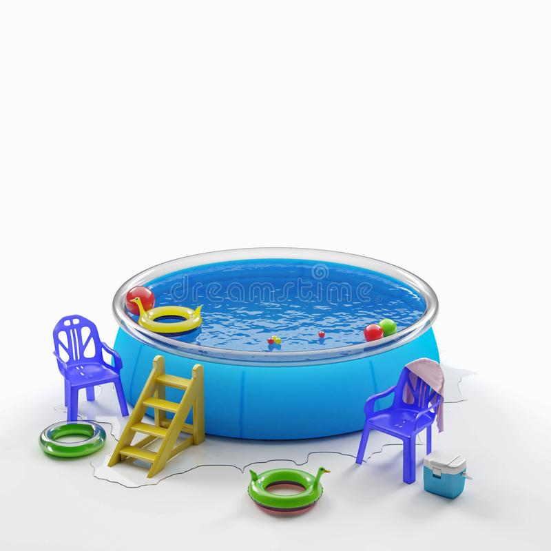 Inflatable pool and toys. royalty free stock photography