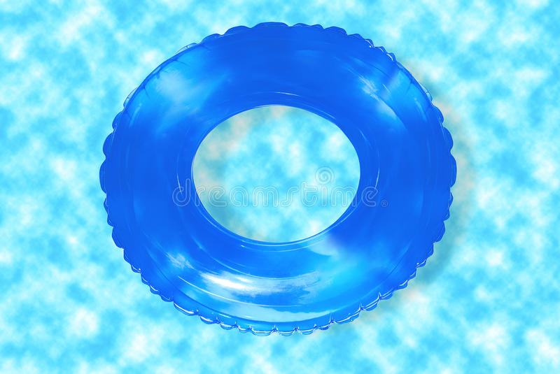 Inflatable ring. In pool with clear blue water stock photo