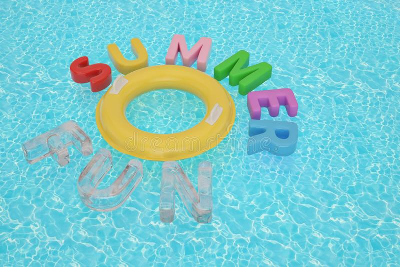 Inflatable ring and summer fun on blue water 3D illustration. Inflatable ring and summer fun on blue water 3D illustration vector illustration