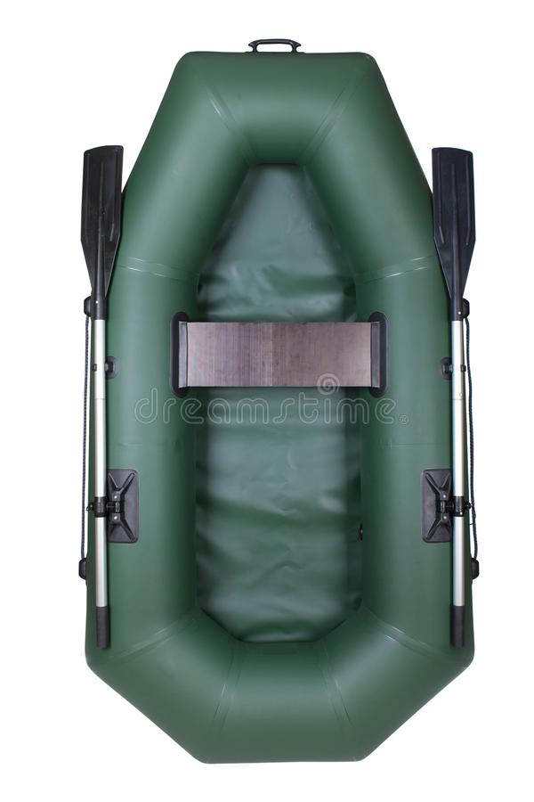 Inflatable rubber boat for one. isolated on white background, vertical. With oars stock photography