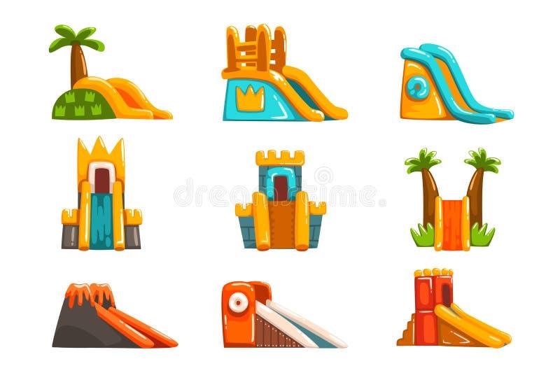 Inflatable slides set, summer amusement park bouncy equipment vector Illustrations on a white background. Inflatable slides set, summer amusement park bouncy vector illustration