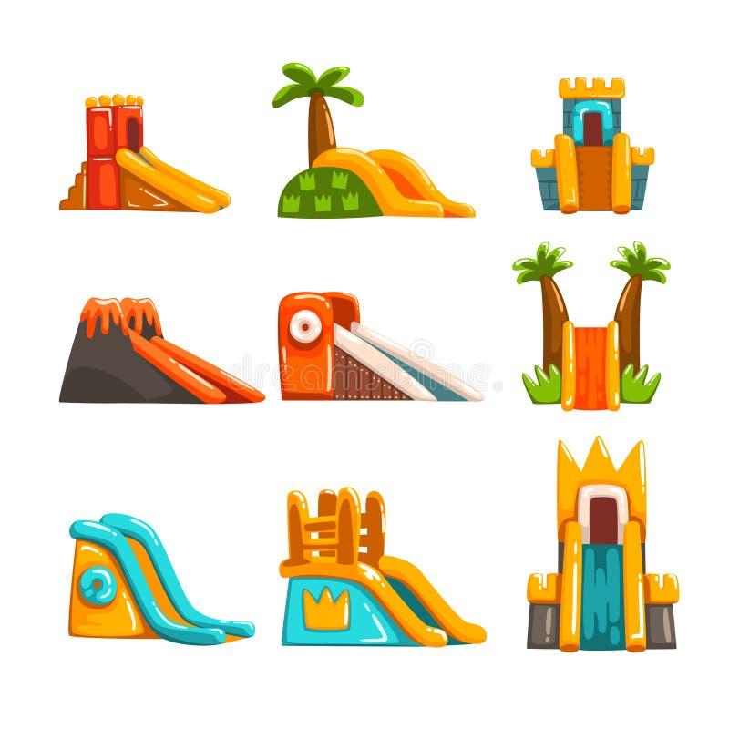 Inflatable slides set, summer amusement park bouncy equipment vector Illustrations on a white background. Inflatable slides set, summer amusement park bouncy royalty free illustration