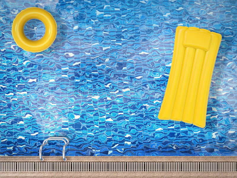 Inflatable toys floating on pool top view royalty free illustration