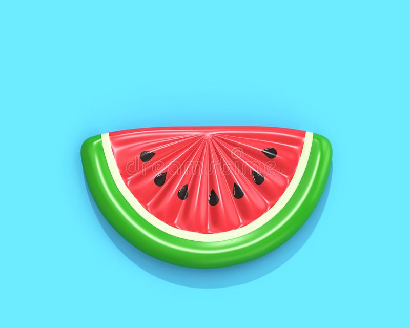 Inflatable watermelon slice on blue background with clipping pat. Inflatable watermelon slice isolated on blue background, top view. 3D rendering with clipping stock illustration