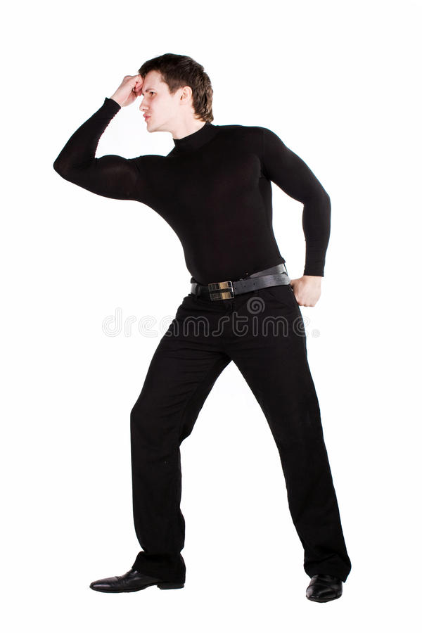 Download Inflated Courageous Man In Black Stock Image - Image: 14791229
