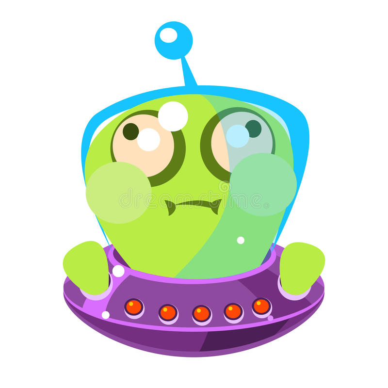 Inflated green alien in a flying saucer, cute cartoon monster. Colorful vector character stock illustration