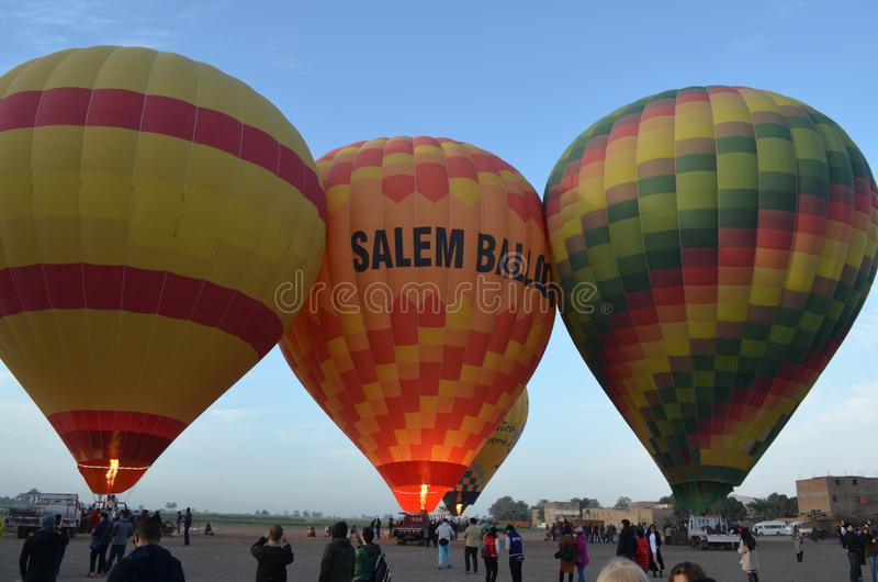 Inflated Hot Air Balloons on Ground in Egypt stock photo