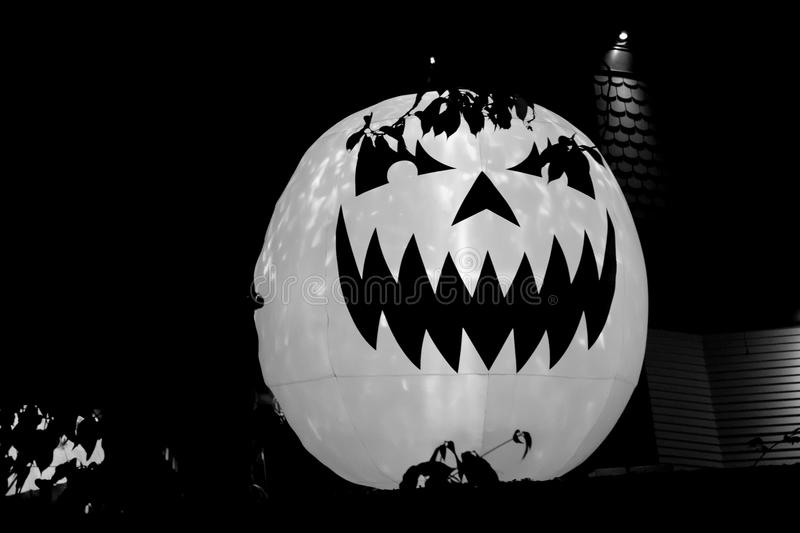 Inflated spooky pumpkin halloween decoration night royalty free stock photos