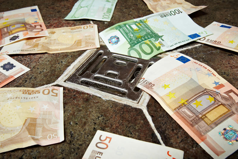 Inflation. Euro bank notes in the outflow stock photos