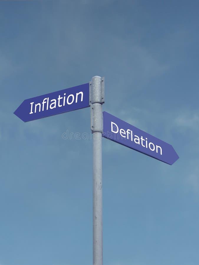 Inflation contre la déflation photographie stock libre de droits