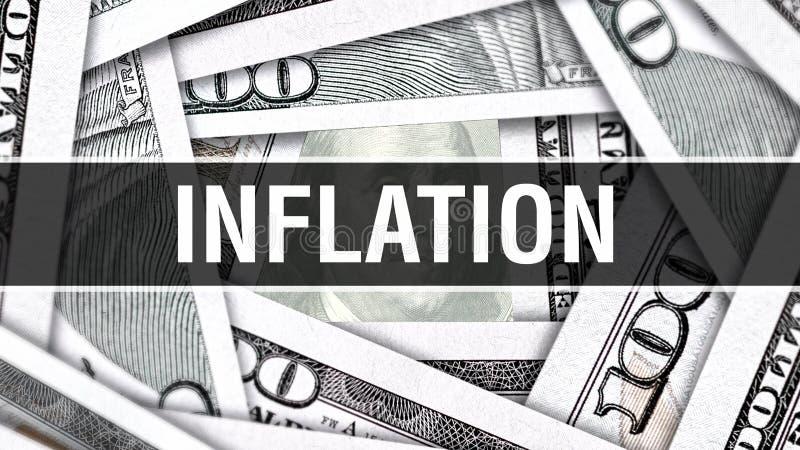 Inflations-Nahaufnahme-Konzept Amerikanische Dollar des Bargeld-, Wiedergabe 3D Inflation an der Dollar-Banknote Finanz-USA-Geldb vektor abbildung