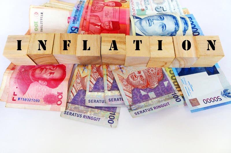 Inflazione nel concetto dell'Asia fotografia stock