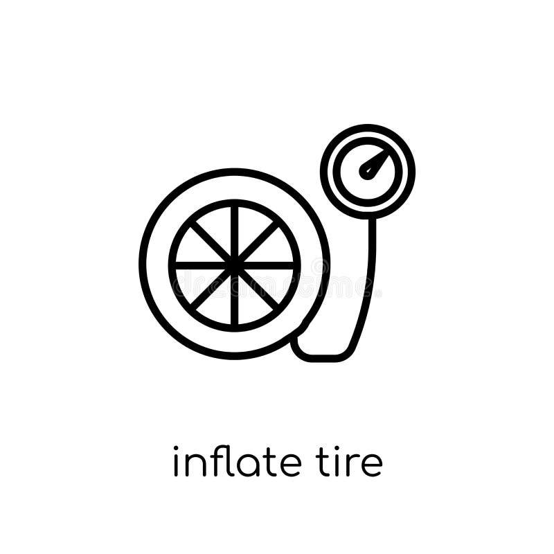 infle el icono del neumático  stock de ilustración