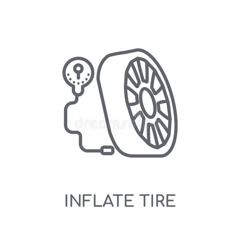 infle el icono linear del neumático El esquema moderno infla conce del logotipo del neumático ilustración del vector